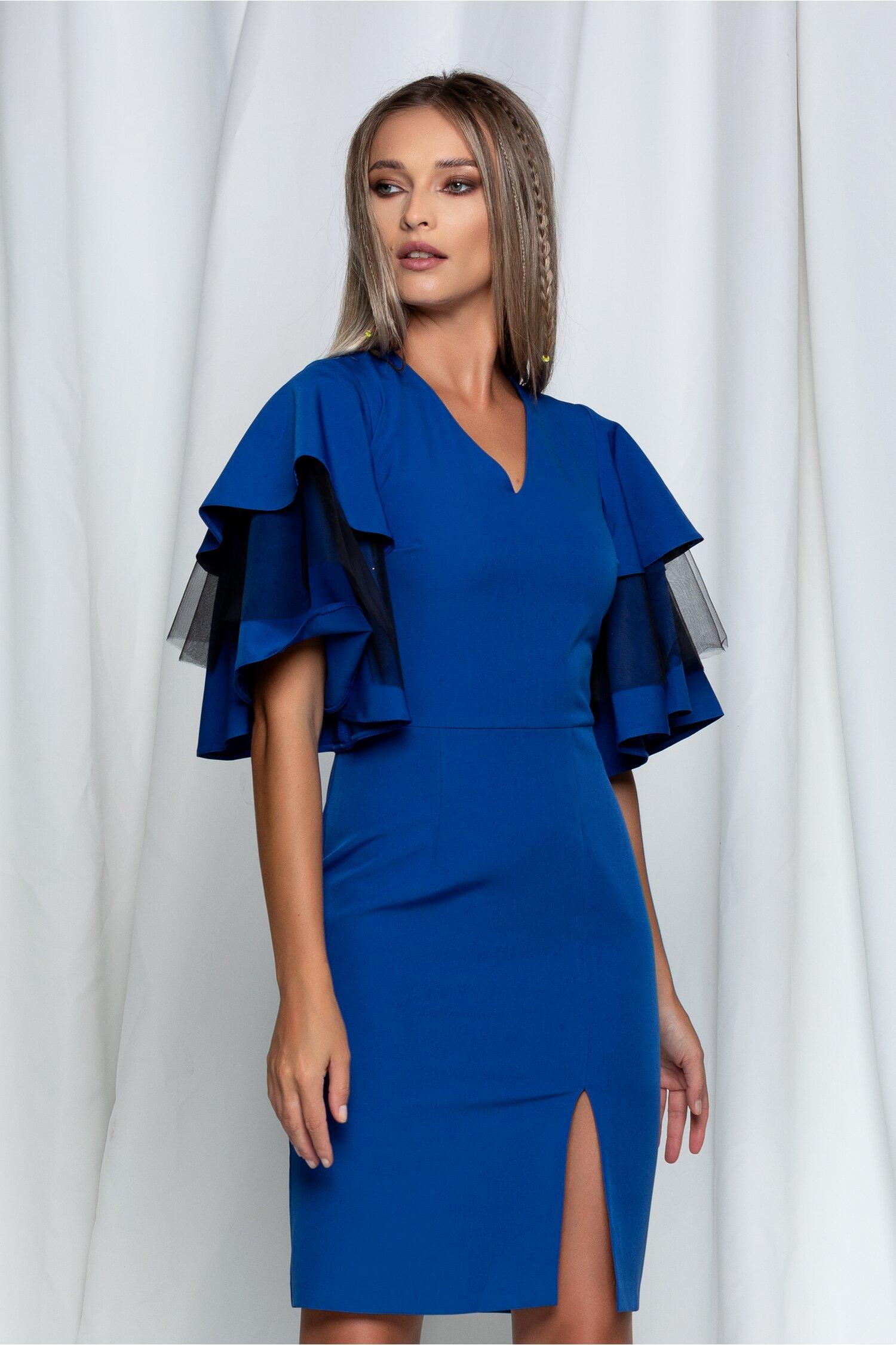 Rochie Dy Fashion Sara albastra cu maneci evazate si crepeu in fata