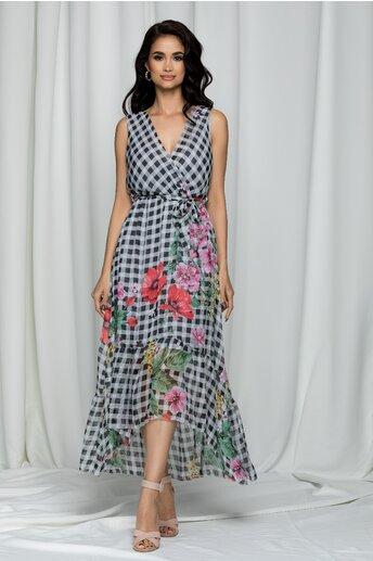 Rochie Eadan alba in carouri cu imprimeu floral si decolteu petrecut