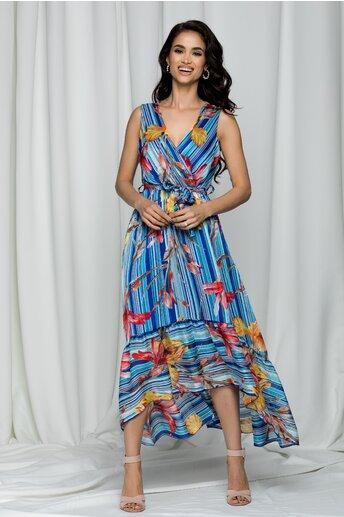 Rochie Eadan albastra cu imprimeu floral si decolteu petrecut