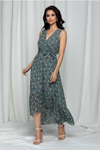 Rochie Eadan verde cu imprimeu floral si decolteu petrecut