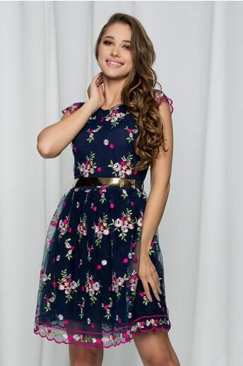 Rochie Edith bleumarin accesorizata cu broderie florala si tulle