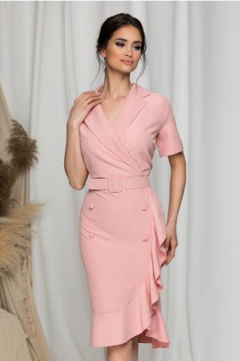 Rochie Ela roz cu rever si volan pe fusta