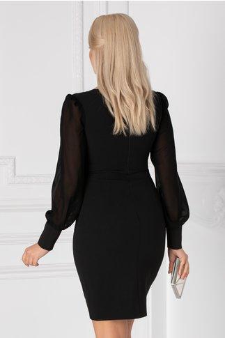 Rochie Elegance neagra cu broderie si maneci din voal