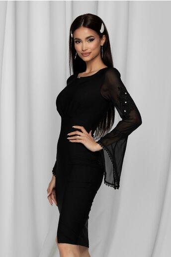 Rochie eleganta Crista neagra cu baza manecilor clos