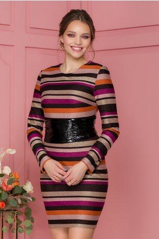 Rochie Elektra cu dungi multicolore si insertii din lurex auriu