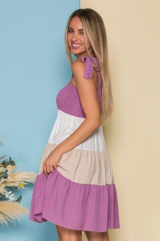 Rochie Elena de vara cu dungi lila
