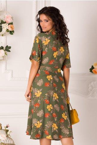 Rochie Elena kaki cu imprimeu floral si cordon in talie