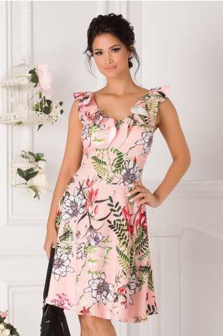 Rochie Elena roz cu imprimeuri floral si volane la bust