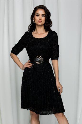 Rochie Elenora neagra cu insertii aurii si pliuri pe fusta
