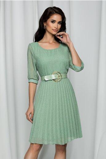 Rochie Elenora verde cu insertii aurii si pliuri pe fusta