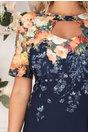 Rochie Eleonora bleumarin cu imprimeuri florale orange si decupaj la decolteu