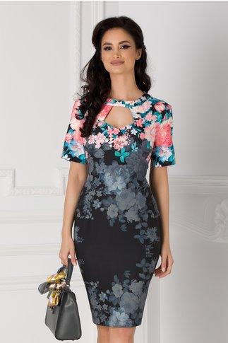 Rochie Eleonora neagra cu imprimeu floral albastru si decupaj la decolteu