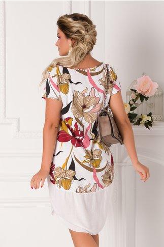 Rochie Eleonore casual alba cu imprimeuri florale bordo
