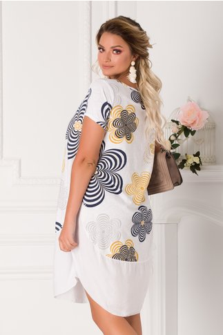 Rochie Eleonore casual alba cu imprimeuri florale maxi
