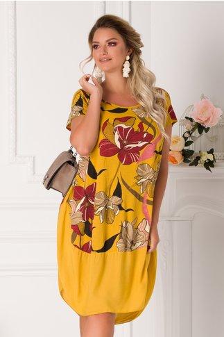 Rochie Eleonore casual galben mustar cu imprimeuri florale maxi