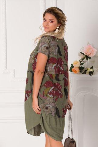 Rochie Eleonore casual kaki cu imprimeuri florale maxi