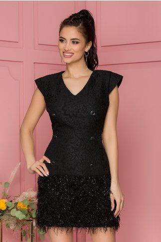 Rochie Elfy neagra accesorizata cu nasturi fantezie si franjuri din fir lurex