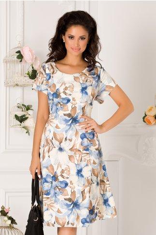 Rochie Elia de zi alba cu imprimeu floral bleu