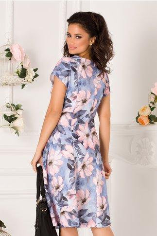 Rochie Elia de zi bleu cu imprimeu floral roz