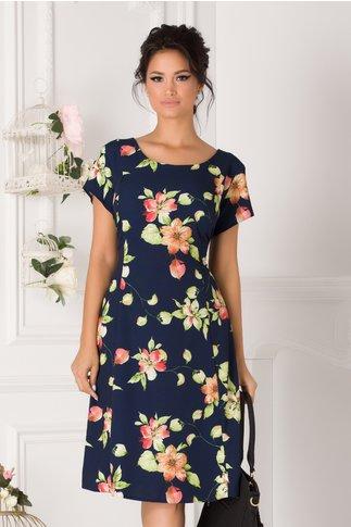 Rochie Elia de zi bleumarin cu imprimeu floral pastelat