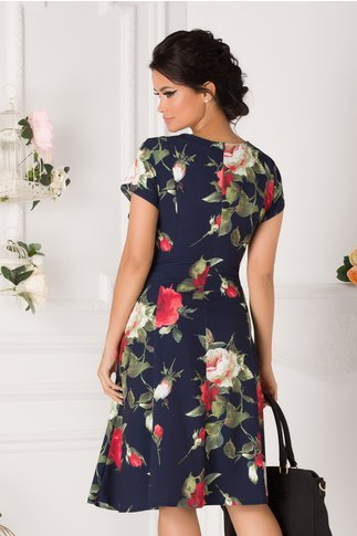 Rochie Elia de zi bleumarin cu trandafiri rosii