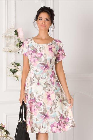 Rochie Elia de zi cu imprimeu floral in nuante pastelate