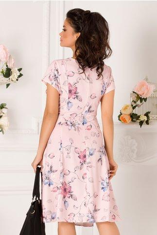 Rochie Elia de zi roz cu imprimeu floral bleu