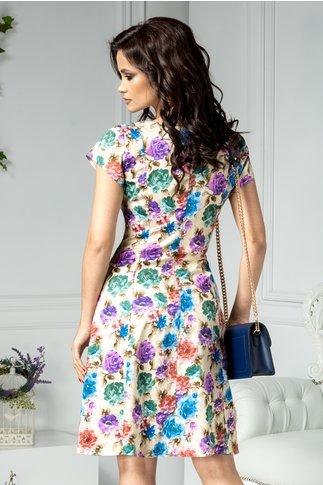 Rochie Elia midi bej cu flori colorate