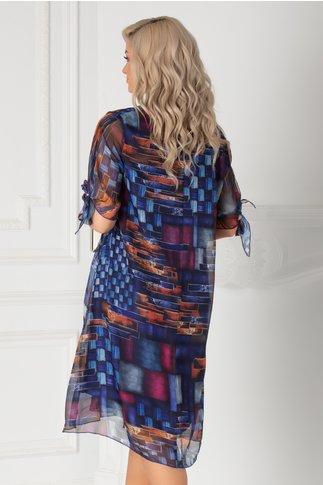 Rochie Eliana albastra cu imprimeu abstract