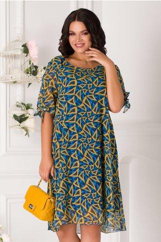 Rochie Eliana albastra cu imprimeu galben si verde