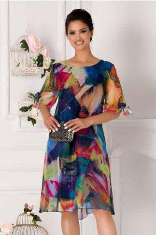 Rochie Eliana albastra cu imprimeu multicolor