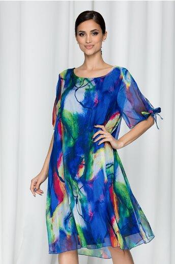 Rochie Eliana albastra din voal cu imprimeu abstract