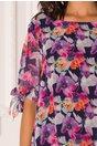 Rochie Eliana bleumarin cu imprimeuri florale mov