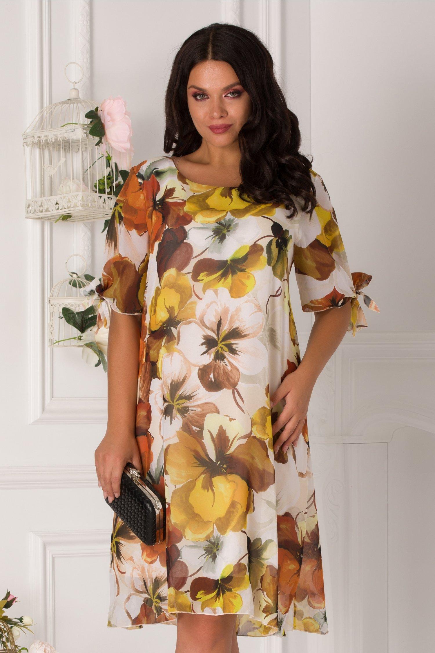 Rochie Eliana cu imprimeu floral galben