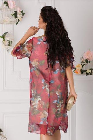 Rochie Eliana magenta cu imprimeu cu frunze