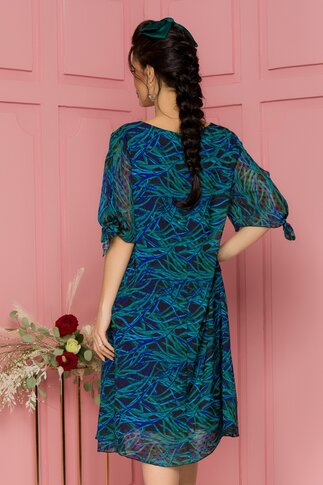 Rochie Eliana neagra cu imprimeu verde si albastru