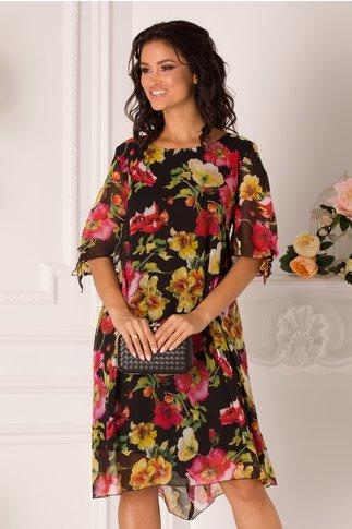 Rochie Eliana neagra cu imprimeuri florale colorate