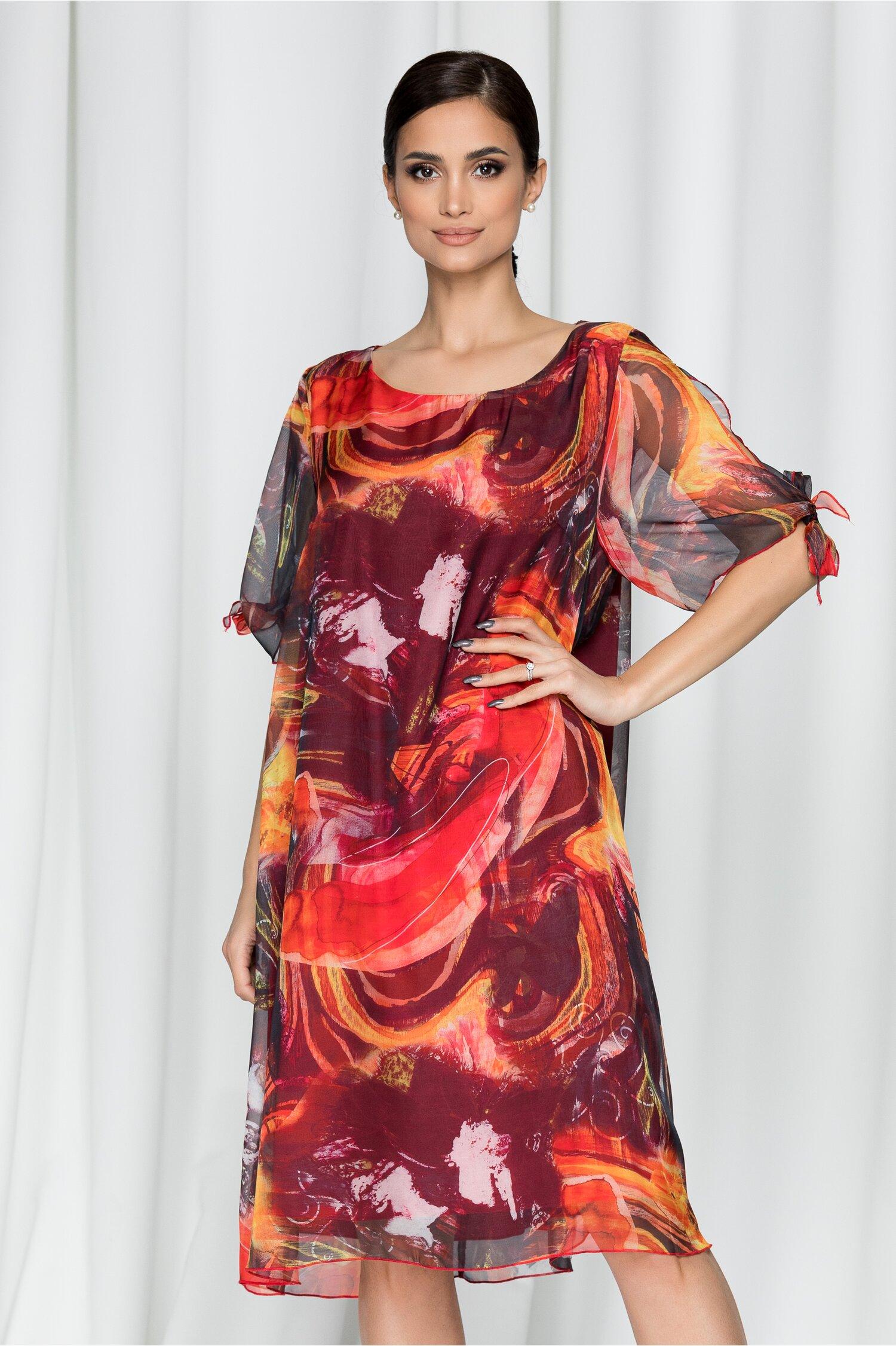 Rochie Eliana rosie din voal cu imprimeu abstract