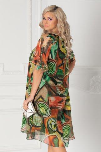 Rochie Eliana verde cu imprimeu abstract
