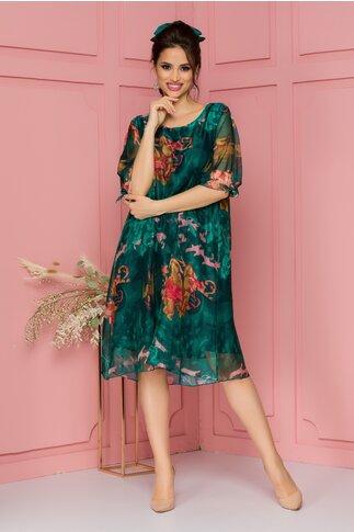 Rochie Eliana verde cu imprimeu floral roz-corai