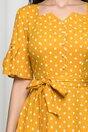 Rochie Elisa galben mustar cu buline accesorizata cu nasturi perlati