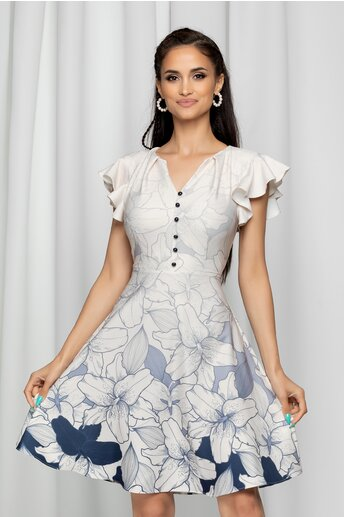 Rochie Elisa ivory cu volanase la maneci si imprimeu floral bleumarin