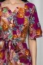 Rochie Elisa mov cu imprimeu floral accesorizata cu nasturi perlati