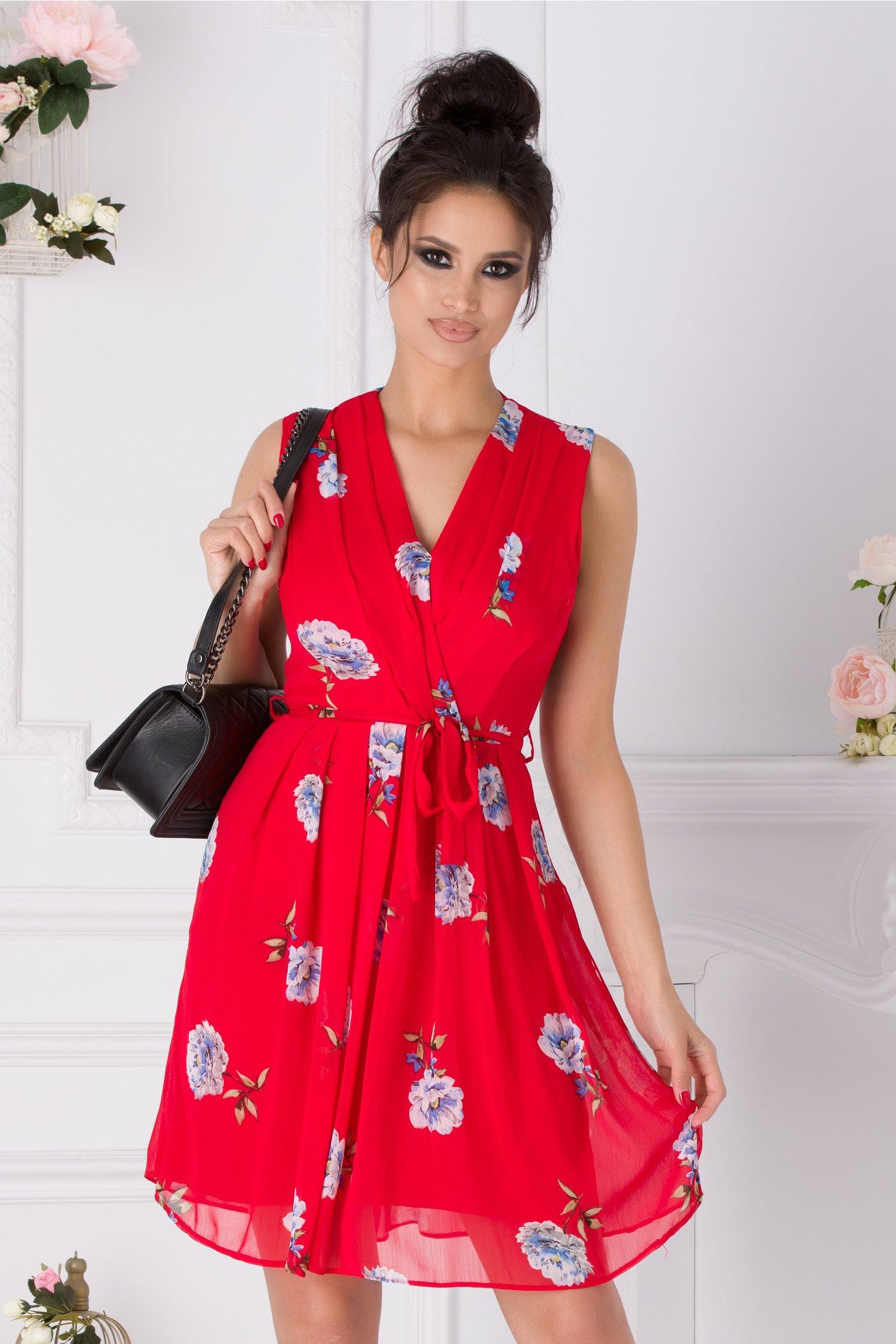 Rochie Elisa rosie cu imprimeu floral