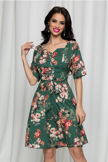 Rochie Elisa verde cu imprimeu floral accesorizata cu nasturi perlati