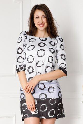 Rochie Elisabeth bleu cu imprimeuri negre