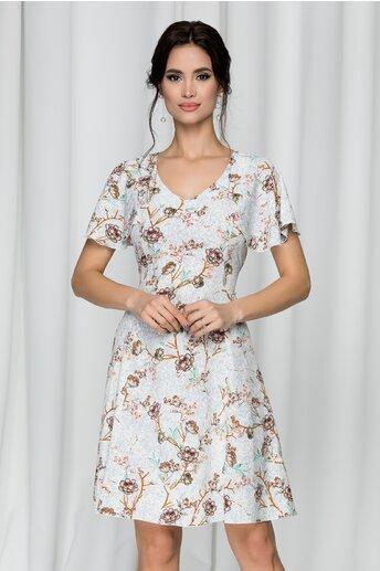 Rochie Elissa alba cu imprimeu floral roz si cordon in talie