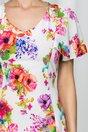 Rochie Elissa alba cu imprimeu floral si cordon in talie