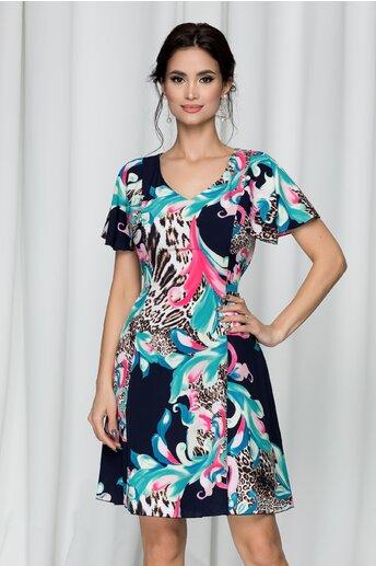 Rochie Elissa bleumarin cu imprimeu floral si animal print
