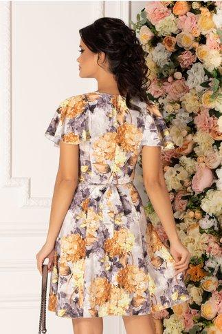 Rochie Elissa cu imprimeu floral in nuante de gri si orange
